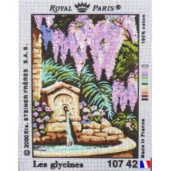 Canevas à broder 22 x 30 cm marque ROYAL PARIS thème les glycines fabrication française