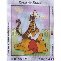 Canevas à broder 22 x 30 cm marque ROYAL PARIS thème DISNEY Winnie the pooh et Tigrou fabrication française