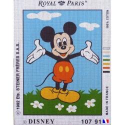 Canevas à broder 22 x 30 cm marque ROYAL PARIS thème DISNEY Mickey fabrication française