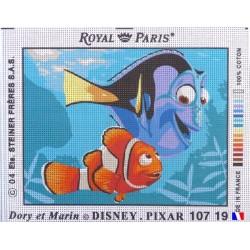 Canevas à broder 22 x 30 cm marque ROYAL PARIS thème DISNEY NEMO Dory et Marin fabrication française