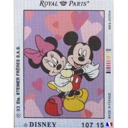 Canevas à broder 22 x 30 cm marque ROYAL PARIS thème DISNEY MICKEY ET MINNIE  fabrication françaiseb