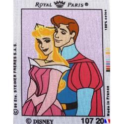 Canevas à broder 22 x 30 cm marque ROYAL PARIS thème DISNEY la belle au bois dormant et le prince fabrication française