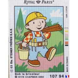 Canevas à broder 22 x 30 cm marque ROYAL PARIS thème Bob le bricoleur fabrication françaiseq