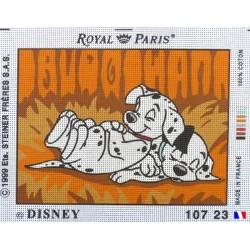 Canevas à broder 22 x 30 cm marque ROYAL PARIS thème DISNEY les 101 dalmatiens FABRICATION FRANCAISE