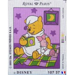 Canevas à broder 22 x 30 cm marque ROYAL PARIS thème DISNEY Winnie l'ourson fabrication française