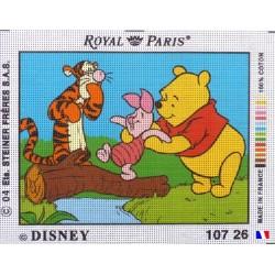 Canevas à broder 22 x 30 cm marque ROYAL PARIS thème DISNEY Winnie l'ourson Tigrou et Porcinet fabrication française