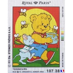 Canevas à broder 22 x 30 cm marque ROYAL PARIS thème TEDINOURS fabrication française