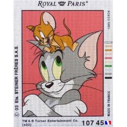Canevas à broder 22 x 30 cm marque ROYAL PARIS thème TOM ET JERRY fabrication française