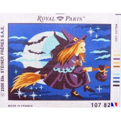 Canevas à broder 22 x 30 cm marque ROYAL PARIS thème LA SORCIERE fabrication française
