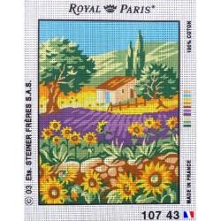 """Canevas à broder 22 x 30 cm marque ROYAL PARIS thème """"la cabane aux tournesols"""" fabrication française"""