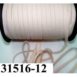 élastique plat largeur 12 mm couleur rose pèche clair  vendu au mètre