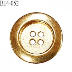 Bouton 14 mm en métal couleur doré 4 trous diamètre 14 mm épaisseur 5 mm prix à l'unité