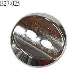 Bouton 27 mm en métal couleur chrome 2 trous largeur 27 mm épaisseur 4.5 mm prix à l'unité