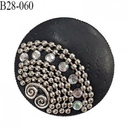 Bouton 28 mm en métal couleur noir avec décor et strass accroche avec un anneau diamètre 28 mm épaisseur 6 mm prix à l'unité
