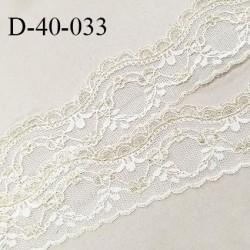 Dentelle 40 mm lycra extensible couleur blanc et or largeur 40 mm prix au mètre