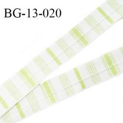 Ruban passepoil 13 mm sans cordon couleur naturel et vert pomme largeur 13 mm prix au mètre