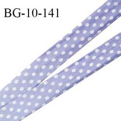 Biais galon 10 mm pré plié au dos 2 rabats de 10 mm polyester effet satiné couleur lavande à pois blanc prix au mètre