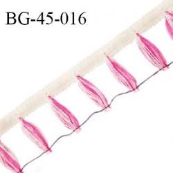 Galon franges 45 mm couleur beige et rose largeur bande 10 mm + 35 mm de franges prix au mètre