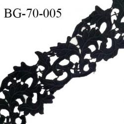 Galon ruban guipure 70 mm motif feuillage couleur noir largeur 70 mm prix au mètre