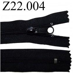 fermeture éclair  longueur 22 cm couleur noir non séparable zip nylon largeur 3 cm