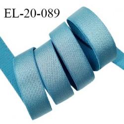 Elastique 19 mm bretelle et lingerie couleur bleu polaire brillant très beau fabriqué en France prix au mètre