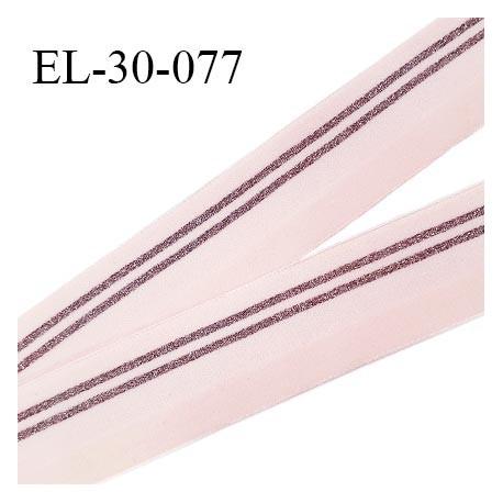Elastique 28 mm spécial lingerie sport et caleçon couleur rose avec bandes cuivre brillantes haut de gamme prix au mètre