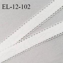 Elastique picot 12 mm lingerie haut de gamme couleur naturel avec motifs fabriqué en France largeur 12 mm prix au mètre