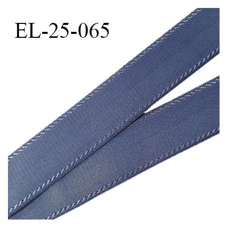 Elastique 24 mm bretelle et lingerie avec surpiqûres couleur encre bleue forte élasticité fabriqué en France prix au mètre