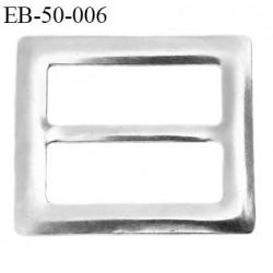 Boucle 50 mm  en métal couleur chromé brillant largeur intérieur 50 mm largeur extérieur 68 mm hauteur total 58 mm
