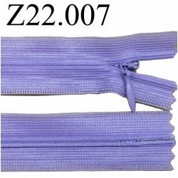 fermeture éclair invisible longueur 22 cm couleur violet lilas non séparable zip nylon largeur 2,3 cm