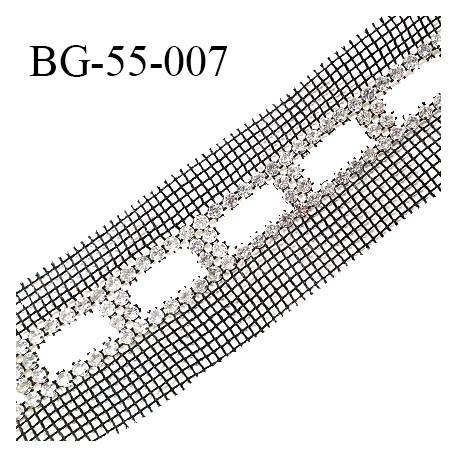 Galon ruban 55 mm maille couleur noir avec strass largeur 55 mm prix au mètre