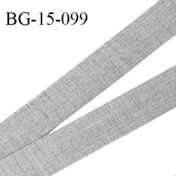 Galon ruban 15 mm très solide renfort vinyle à l'arrière couleur gris chiné largeur 15 mm prix au mètre