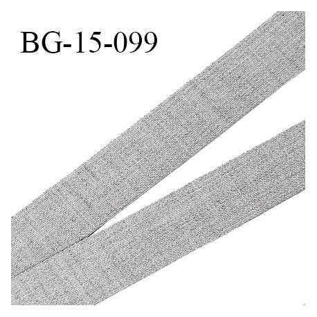 Galon ruban 15 mm très solide renfort à l'arrière couleur gris chiné largeur 15 mm prix au mètre