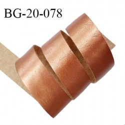 Galon ruban 20 mm couleur cuivre brillant façon cuir ou simili souple et très agréable au toucher largeur 20 mm prix au mètre