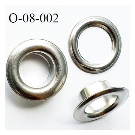 Oeillet en métal couleur acier blanc diamètre extérieur 8 mm diamètre intérieur 4 mm hauteur 4 mm prix à l'unité