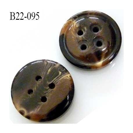 Bouton 22 mm pvc marron et beige marbré diamètre 22 mm 4 trous épaisseur 8 mm prix à l'unité