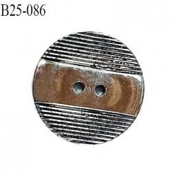 Bouton 25 mm pvc couleur chrome 2 trous diamètre 25 mm épaisseur 4 mm prix à l'unité