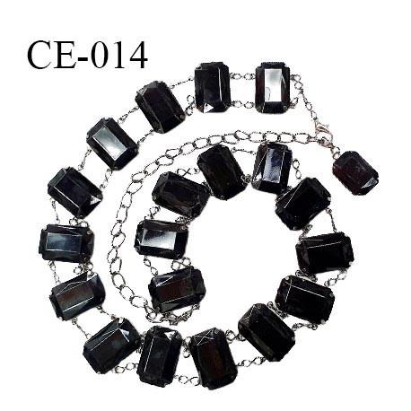 Ceinture 95 cm double chaîne et strass couleur noir longueur 95 cm hauteur 3 cm prix à l'unité