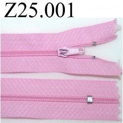 fermeture éclair longueur 25 cm couleur rose non séparable zip nylon largeur 2,5 cm