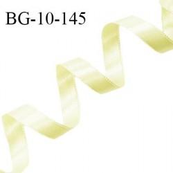 Galon ruban satin 10 mm couleur jaune citron brillant lumineux double face très solide largeur 10 mm prix au mètre
