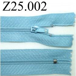 fermeture éclair longueur 25 cm couleur bleu non séparable zip nylon largeur 2,5 cm