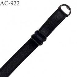 Bretelle lingerie SG 10 mm couleur noir brillant avec 1 barrette et 1 anneau en pvc largeur 10 mm longueur 40 cm prix à l'unité