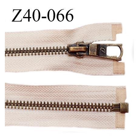 Déstockage (2ème choix) fermeture zip 40 cm couleur beige rosé zip métal couleur laiton prix à l'unité
