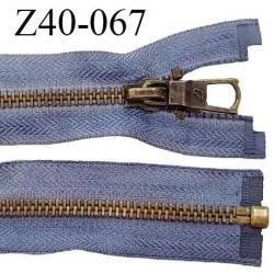 Déstockage fermeture séparable zip 40 cm couleur bleu zip métal couleur laiton prix à l'unité