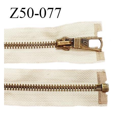 Déstockage (2ème choix) fermeture séparable zip 50 cm couleur beige sable zip métal couleur laiton prix à l'unité
