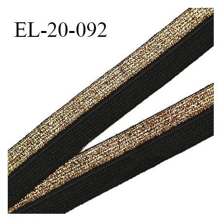 Elastique pré plié 20 mm couleur noir et or élastique souple largeur 20 mm prix au mètre