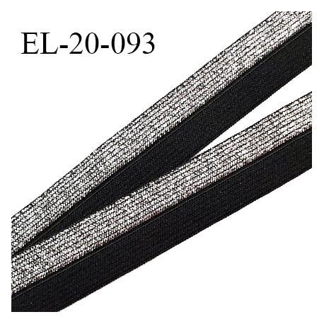 Elastique pré plié 20 mm couleur noir et argenté élastique souple largeur 20 mm prix au mètre