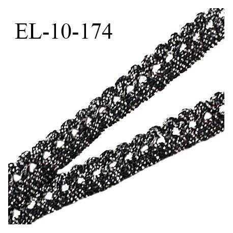 Elastique picot 10 mm style lurex couleur noir et argent élastique souple prix au mètre