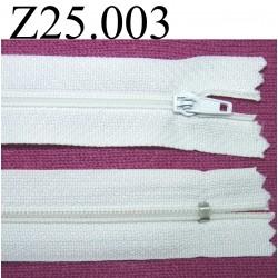 fermeture éclair blanche longueur 25 cm couleur blanc non séparable zip nylon largeur 2,5 cm