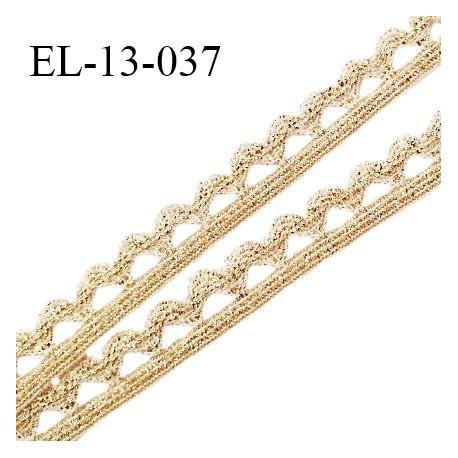 Elastique picot 13 mm style lurex élastique souple couleur blanc et or largeur 6 mm + picots largeur 7 mm prix au mètre
